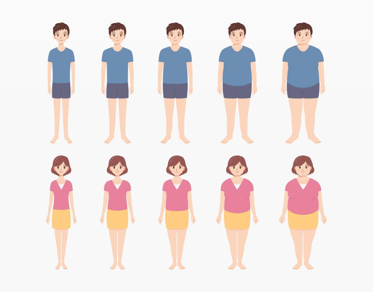 男女の体型別イラスト10体